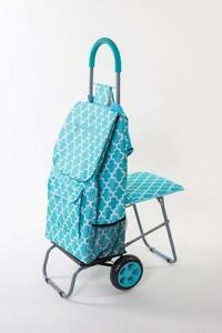 Trolley Dolly With Seat Moroccan Tile Shopping Grocery Foldable Cart Tailgate