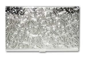 Metal Damask Embossed Business Card Case silver