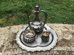 Antique Art Nouveau Pairpoint Quadruple Chocolate Coffee Tea Set Vtg Pinched