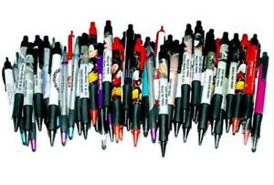 50 Wholesale Lot Misprint Ink Pens Ball Point Plastic Retractable