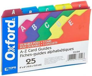 Oxford Poly Index Card Guides Alphabetical A z Assorted Colors 4 X 6