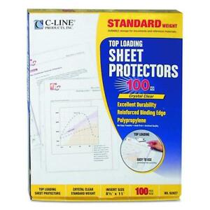 C line Top Loading Standard Weight Poly Sheet Protectors Clear 8 5 X 11