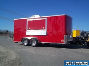 7x16 Enclosed Concession Vending Trailer Finsiehd W Sinks Cabinets Ac Electrical