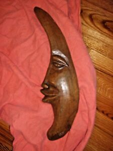 Primitive Country Wood Folk Art Carved Moon One Of Kind Decoration Decor Picture