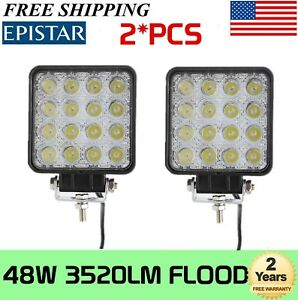 2x 48w Flood Led Offroad Work Light Lamp 12v 24v Car Boat Truck Driving Ute Rzr