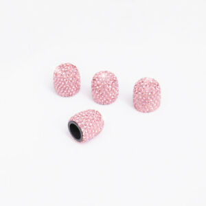 4 Piece Pink Jeweled Bling Diamond Tire Wheel Stem Valve Cap Cover For Car Truck