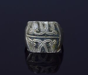 Rare Medieval Viking Silver Ring With Niello Depiction Of Dragons T45