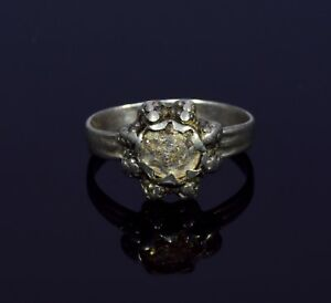 Tudor Era Silver Ring With Intricate Bezel Stone With Iridescence T56