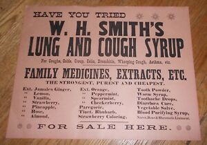 C1915 Antique Medical Sign Quack Medicine W H Smith S Lung Cough Syrup