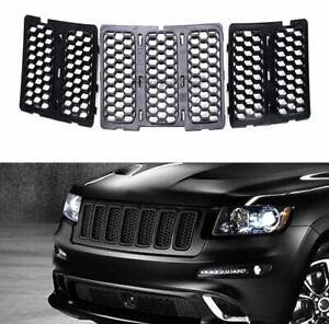 7pcs Abs Front Grille Inserts Cover Kit For Jeep Grand Cherokee 14 16 Black An
