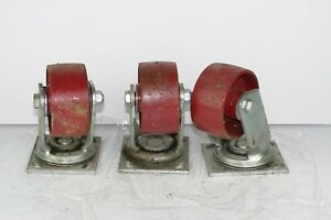 3 Hamilton 4 X 2 Industrial Swivel Steel Caster Wheels
