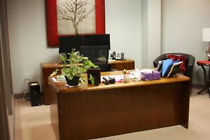 Geiger Office Desk And Credenza Set With Matching Bookcase Set