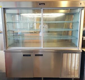 72 Pie Bakery Display Case Refrigerated Double Duty Stainless See through Diner
