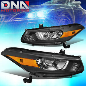 For 2008 2012 Honda Accord Coupe Pair Black Housing Amber Side Headlight lamps