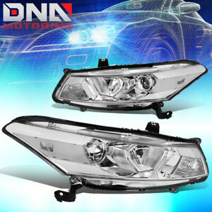 For 2008 2012 Honda Accord Coupe Pair Chrome Housing Clear Side Headlight lamps
