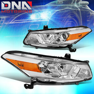 For 2008 2012 Honda Accord Coupe Pair Projector Headlight Headlamps Chrome Amber