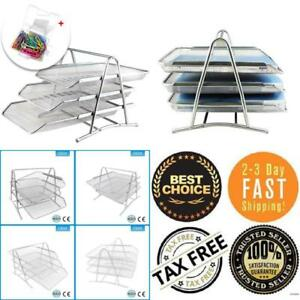 3 Tier Stackable Desktop Document Letter Tray Organizer Paper Clip Silver New