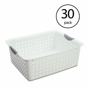 Sterilite Large Ultra Plastic Storage Bin Organizer Basket White 30 Pack