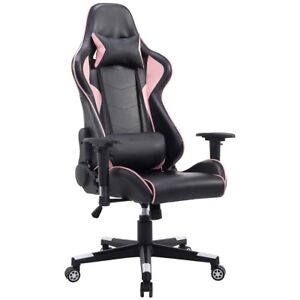 Black pink High Back Gaming Chair Seat With Lumbar Support Home Office Furniture