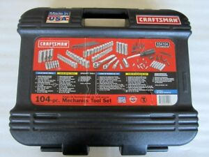 Craftsman 104 Piece Mechanics Tool Socket Set With Case 34104 Made In Usa