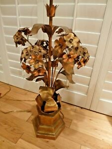 Vintage Gold Hollywood Regency Flower Lamp Mid Century Modern 41 Tall Tole