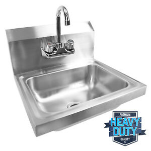 Open Box Commercial Stainless Steel Hand Wash Washing Wall Mount Sink Kitchen