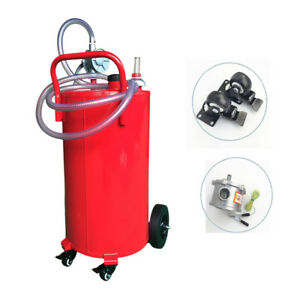 35 Gallon Gas Caddy Storage Drum Autos Fuel Transfer Tank W rotary Pump Hose