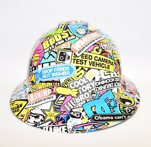 Custom Ridgeline Widebrim Hard Hat Hydro Dipped In Hoonigan Sticker Bomb