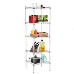 New 5 Tier Wire Shelving Unit Nsf Metal Shelf Rack Height Adjustable 18 x18 x59