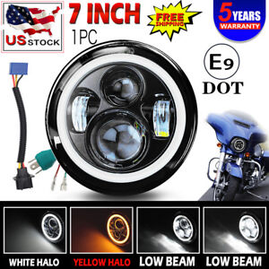 Dot 7 Halo Led Projector Amber Headlight For Harley Street Glide Softail Flh