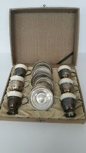 Vintage Set Of 6 M Fred Hirsch Demitasse With Lenox Liners Sterling Silver