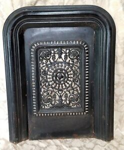 Antique Ornate Cast Iron Fireplace Cover Surround Antique Insert Floral Grate