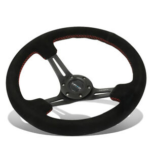 Nrg Reinforced 350mm 3 deep Dish 3 spokes Red Stitch Suede Grip Steering Wheel