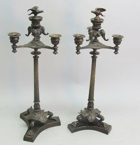 Fine Pair Of Antique French Neoclassical Bronze Four Light Candelabra C 1880