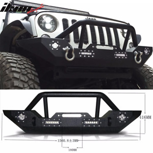 Fits 07 17 Jeep Wrangler Front Bumper Guard With Led Light Textured Black