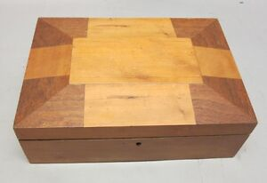Rare Antique 19th C American Shaker Sewing Box C 1880 Inlaid W Inner Tray