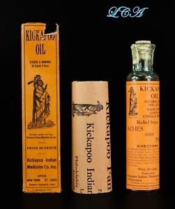 The Real Thing Kickapoo Indian Oil Antique Quack Medicine Bottle In Orig Box