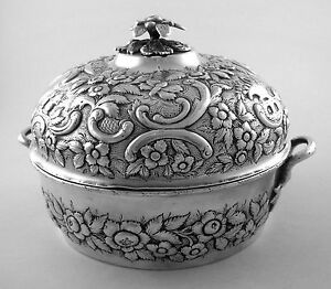 Sterling A E Warner Repousse Covered Butter Dish 1840