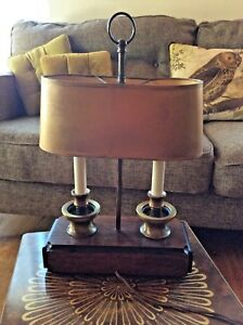 Vintage Knob Creek Wood Brass Bouillotte Tole Shade Table Desk Lamp