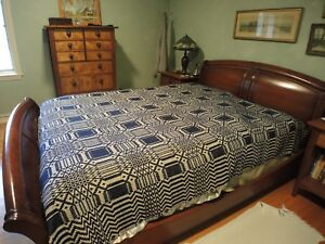 Mid 1800s Navy And Cream Reversible Wool Coverlet For A Queen Bed 48 X 60
