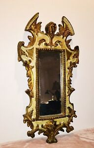 19th C Italian Gilt Hand Carved Painted Wood Mirror Angel Lion Heads Import Tag