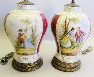 Huge Pair Of French Old Paris Painted Urns As Lamps C 1850 Antique Vase