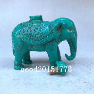 Pure Hand Carved Snuff Bottle Turquoise Elephant Statue