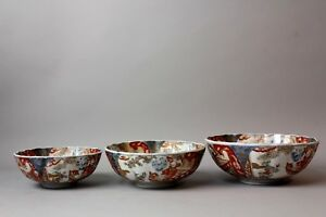 A Masterpiece Early Imari Hand Painted Porcelain Bowls Set Edo Period S32