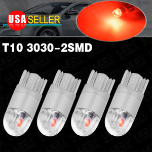 4x Pure Red T10 3030 2 led High Power Dome Map Interior Light Bulb W5w 168 194