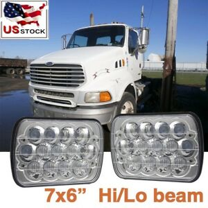 2x 10d Led Headlights 7x6 Headlamp For Sterling Truck M7500 A9500 Lt9500 Day Cab