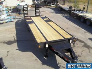 Flatbed 8 X 25 10 Ton Deckover Hd Equipment Trailer 25ft Flat Bed 20k Gvwr