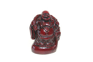 Laughing Carved Cinnabar Poly Stone Chinese Red 3 5 Buddha Figurine