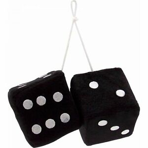 3 Black Fuzzy Dice With White Dots Pair Vpadicebkw Retro Parts Usa Street