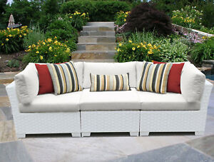 Tk Classics Monaco Patio Sofa With Cushions White